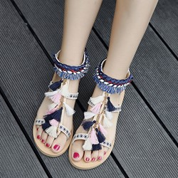 Shoespie Folk Style Fringes Flat Sandals