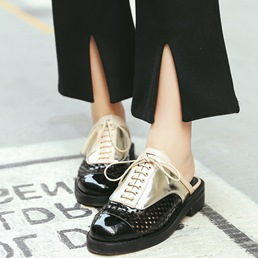 Shoespie Street look Color Block Backless Loafers