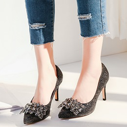 Shoespie Chic Black Rhinestone Stiletto Heels