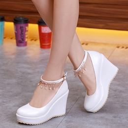 Shoespie Elegant Round Toe Ankle Wrap Wedge Bridal Shoes