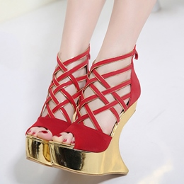 Shoespie Shaped Heel Wedge Sandals