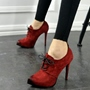 Shoespie Gorgeous Nubuck Lace Up Stiletto Booties