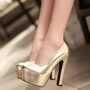 Shoespie Classy Shine Leather Chunky Platform Heels