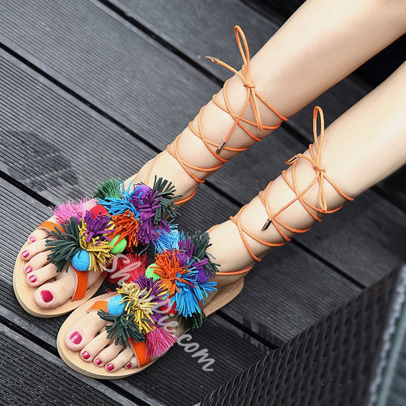 Shoespie Greek Colorful Fringes Flat Sandals