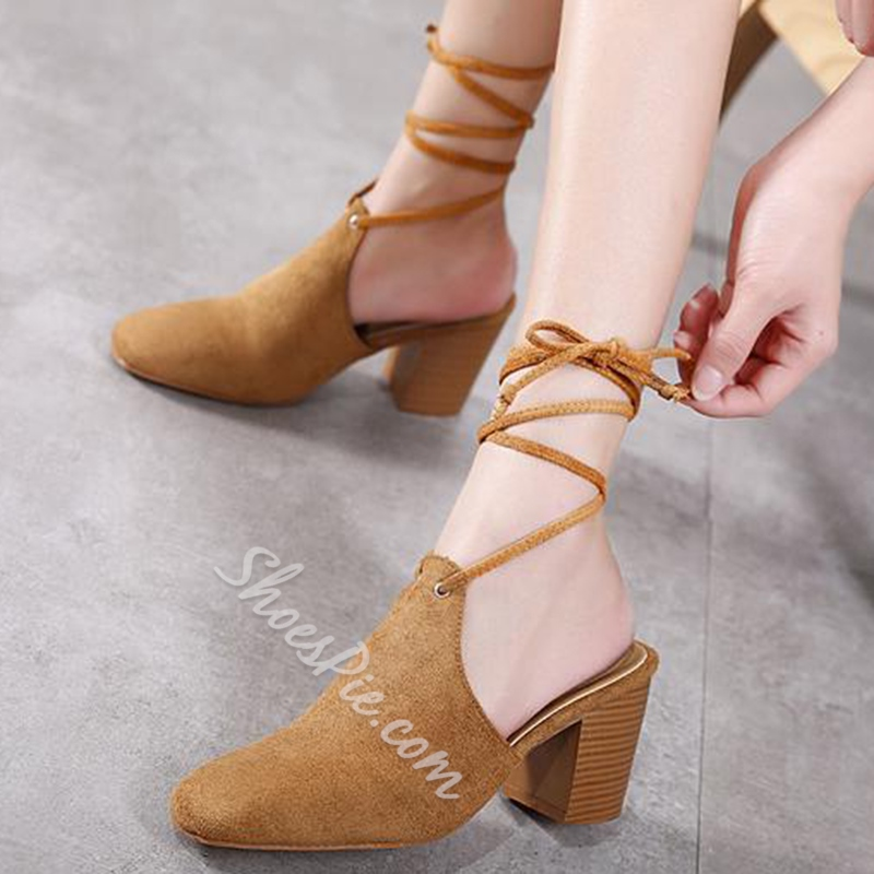 Shoespie Stylish Round Toe Backless Lace Up Pumps
