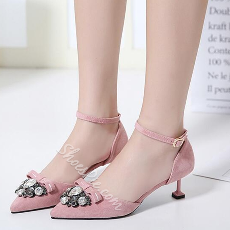 Shoespie Stylish Rhinestone Low Heel Cheap Pumps