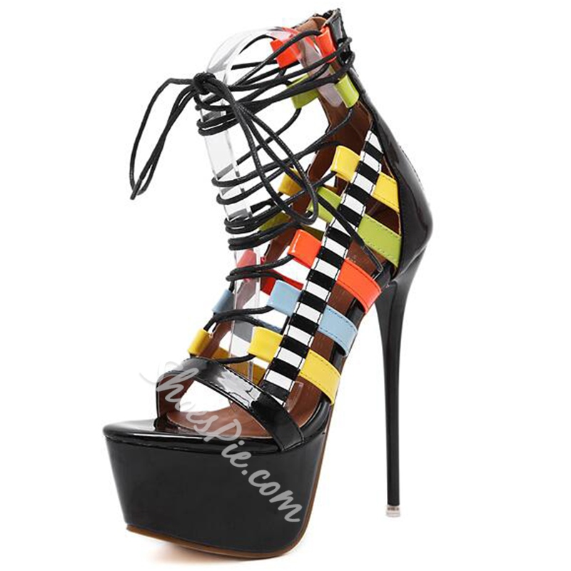 Shoespie Colorful Strappy Lace Up Sandals