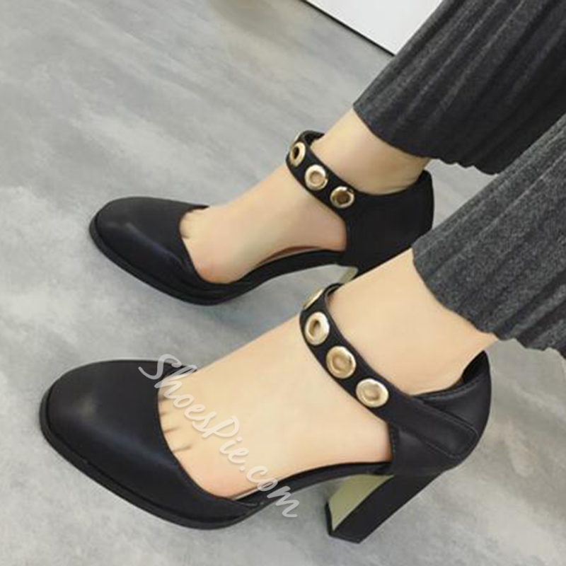 Shoespie Chic Hollow Out Chunky Heel Pumps
