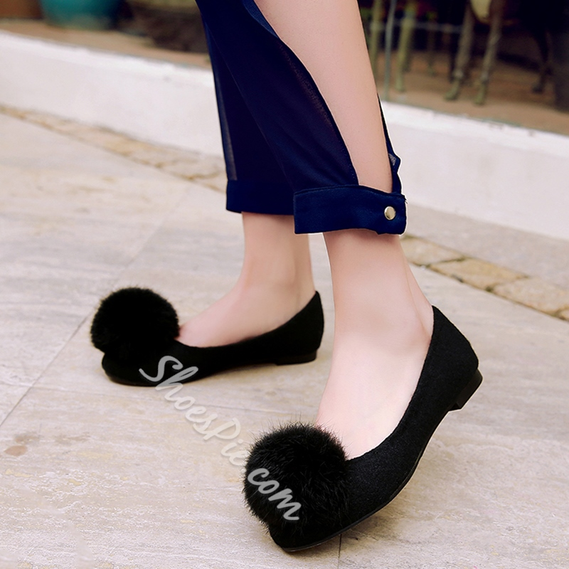 Shoespie Cute Pompom Accented Loafers