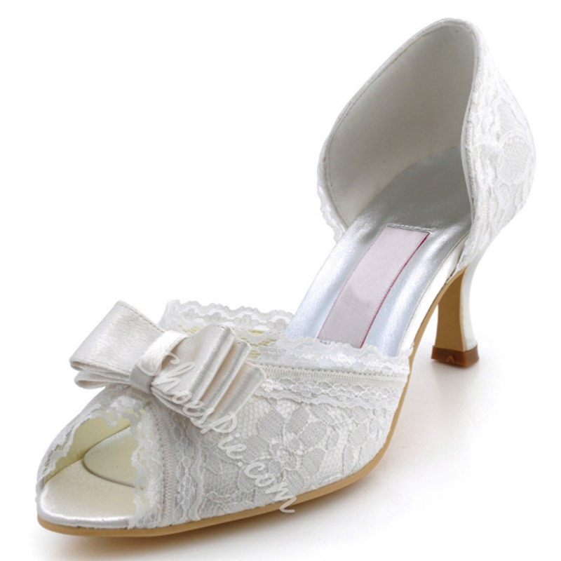 Shoespie Cute Bow Lace Two Part Bridal Shoes