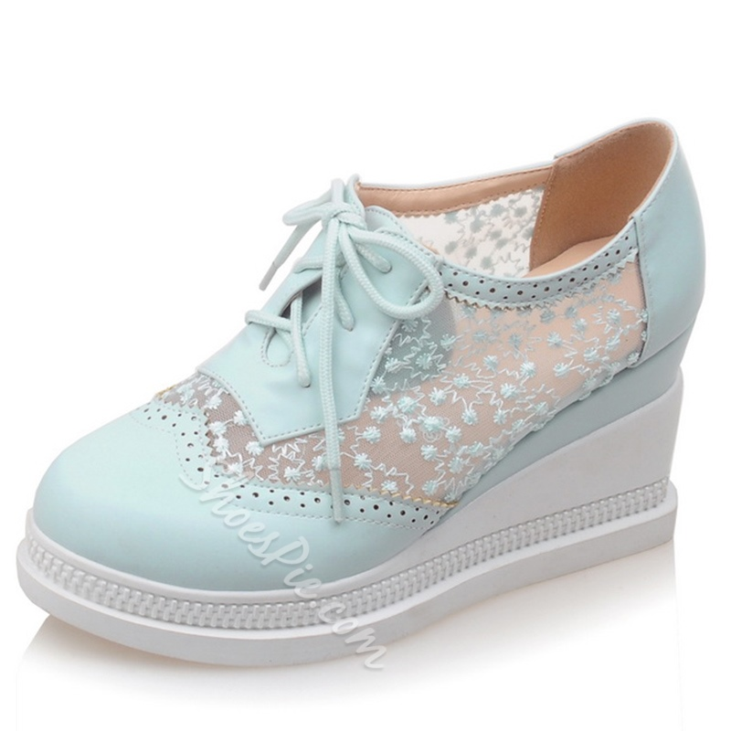 Shoespie Lace Patchwork Sneakers