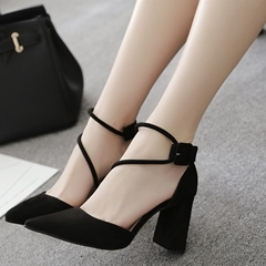 Shoespie Pointed Chunky Heel Sandals