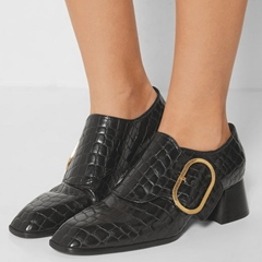 Shoespie Trendy Buckle Alligator Pattern Ankle Boots