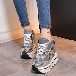 Shoespie Gorgeous Patchwork Hidden Elevator Heel Sneakers