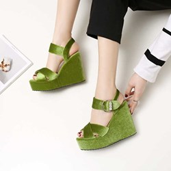 Shoespie Multi Color Velvet Wedge Sandals