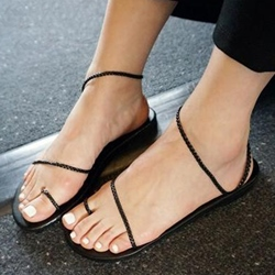 Shoespie Simple Black Braided Strings Flat Sandals