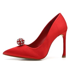 Shoespie Chic Satin Beaded Two Color Stiletto Heels