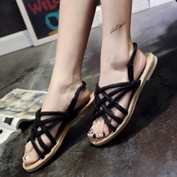 Shospie Braided Strappy Flat Sandals
