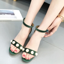 Shoespie Pearls Decorated Chunky Heel Sandals