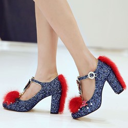 Shoespie Unique Glitter Furry T Strap Pumps