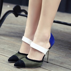 Shoespie Stylish Suede & Mesh Contrast Color Stiletto Heels