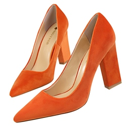 Shoespie Simply Comfortable Pointed Toe Chunky Pumps