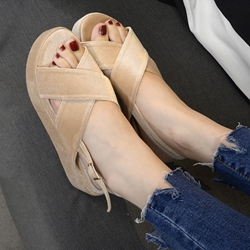 Shoespie Velvet Platform Sandals