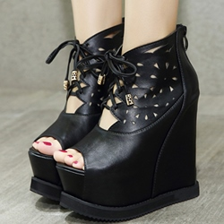Shoespie Black Cutout Front Lace Up Wedge Sandals