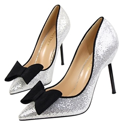 Shoespie Gorgeous Glitter Bow Stiletto Court Heels