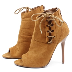 Shoespie Side Lace Up Open Toe Booties