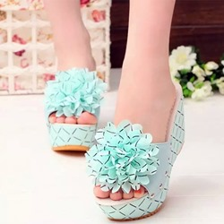 Shoespie Cute Flowers Wedge Slippers