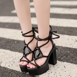 Shoespie Black Ropes Lace Up Rugged Platform Heel Sandals