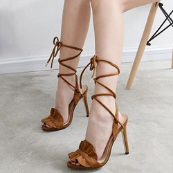 Shoespie Flounce Lace Up Sandals