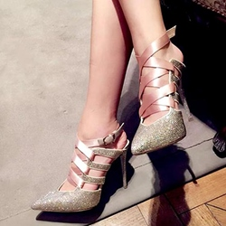 Shoespie Gorgeous Sequine Ribbon Strapped Stiletto Heels