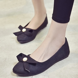Shoespie Cute Nubuck Bow Loafers