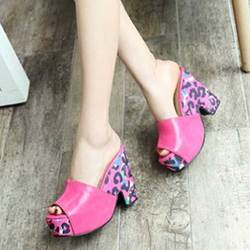 Shoespie Colorful Lepard Block Heel Mules