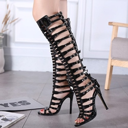 Shoespie Black Black Gladiator Heel Sandals