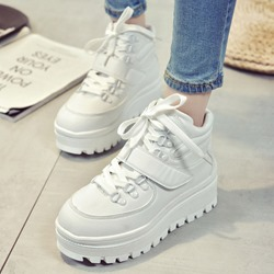 Shoespie Platform Velcro Lace Up Sneakers
