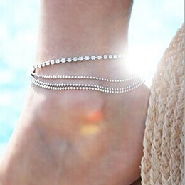 Shoespie Gorgeous Sliver Layered Anklet
