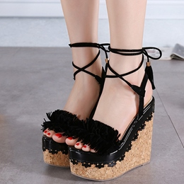 Shoespie Purfled Wooden Wedge Sandals