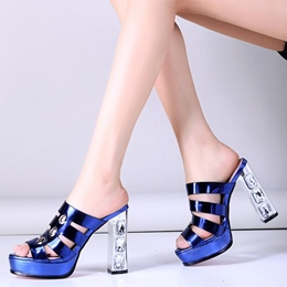 Shoespie Awesome Shine Leather Caged Mules Shoes