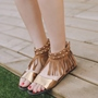 Shoespie Wrap Up Fringes Flat Sandals