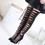 Shoespie Black Front Lace Up Pointed Thigh High Heels