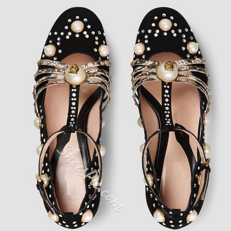 Shoespie Chic Black Beaded Chunky Heel T Strap Pumps