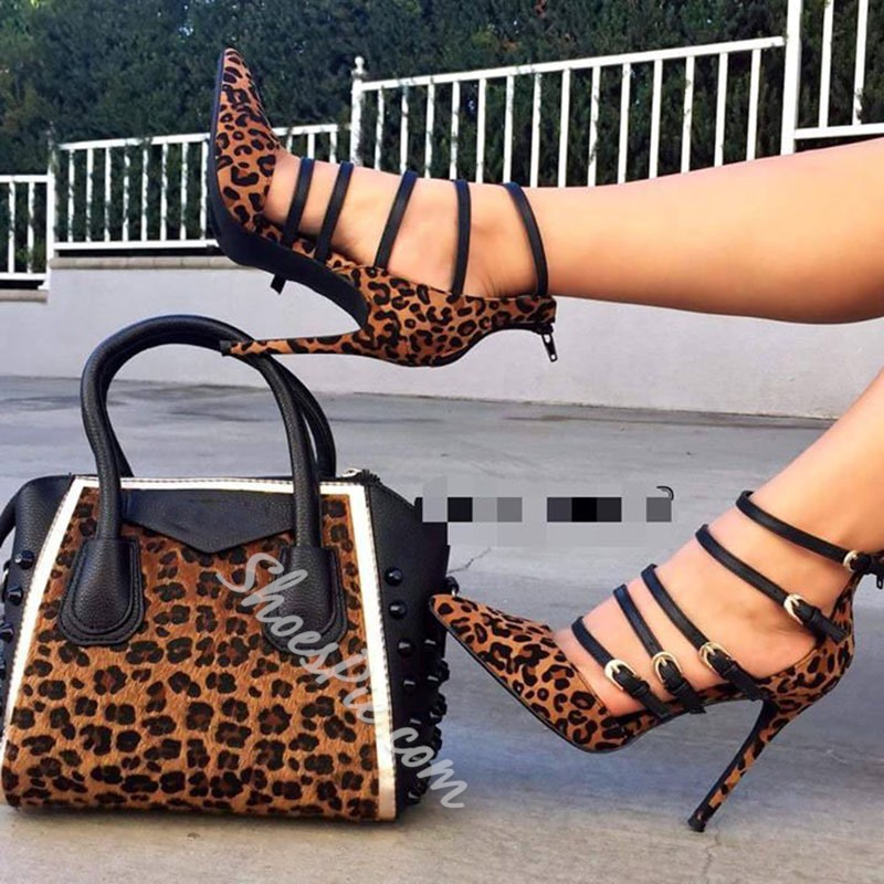 Shoespie Leopard Zipper Point Toe Stiletto Heels (not include bag)