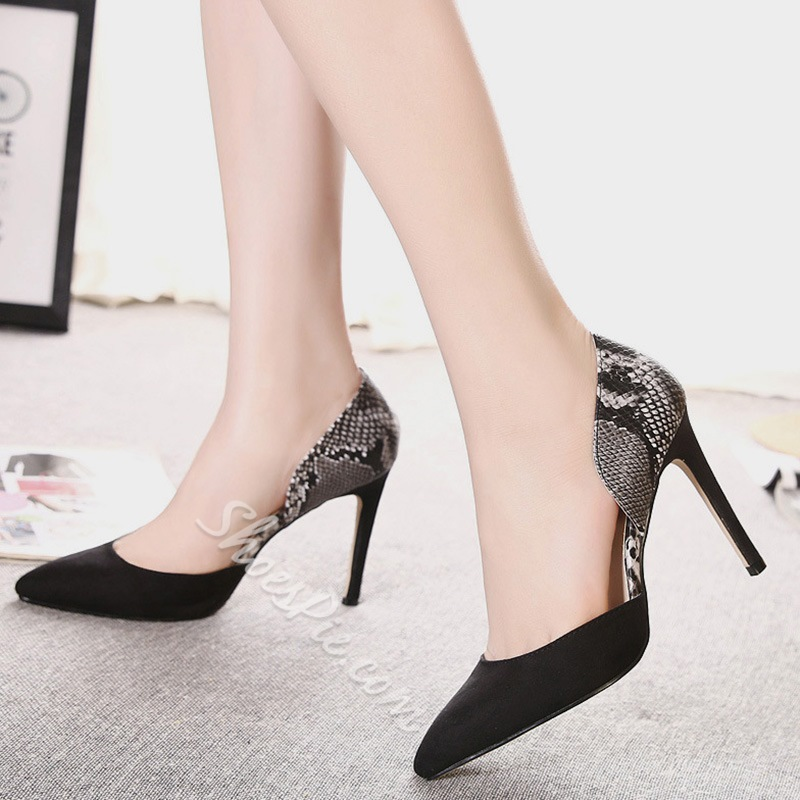 Shoespie Elegant Two Piece Snake Pattern Stiletto Heels