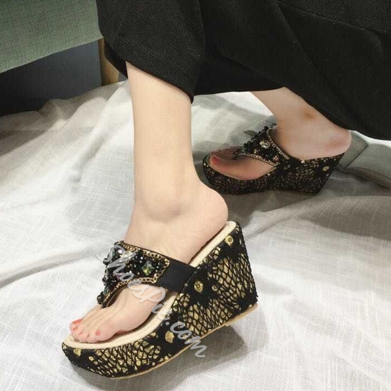 Shoespie Lace and beads Wedge Thong Slippers