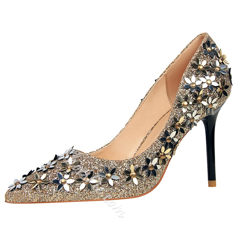 Shoespie Chic Glitter Flower Appliqued Stiletto Heels