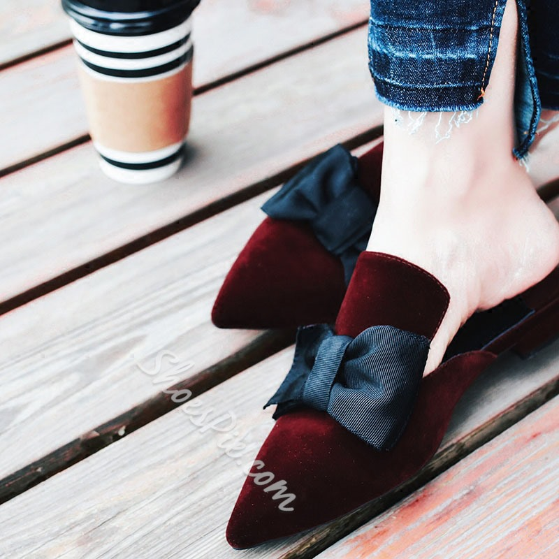 Shoespie High Street Bow Pointed Toe Mules Shoes