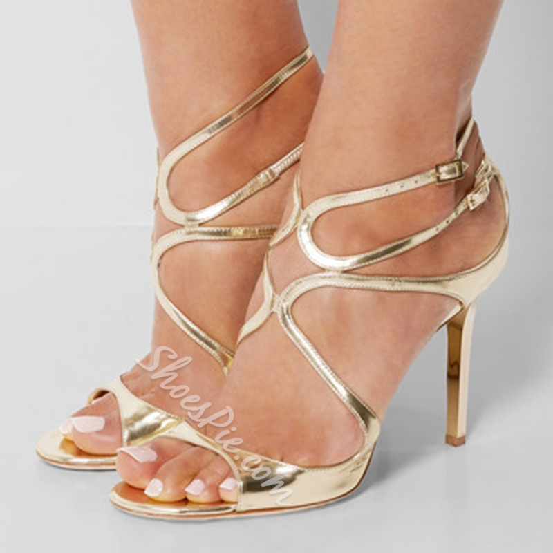 Shoespie Patent Leather Golden Dress Sandals